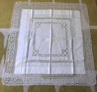 "VINTAGE ANTIQUE WHITE LINEN LACE TABLECLOTH SQUARE 45""x 44"" BEAUTIFUL EXCELLENT"