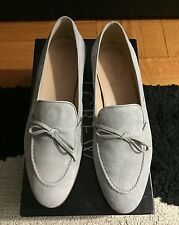 J Crew Suede Bow Loafers, Light Grey, Size 7,5 (EU 8)