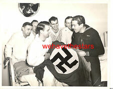 Vintage Cesar Romero AND G.I.s WITH CAPTURED NAZI FLAG CANDID '44 Portrait