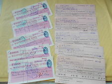 Collection Of 5 Westminster Bank Used Cheques + Wages Slips 1950's - G.R.Isaac