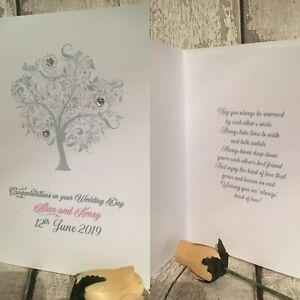 PERSONALISED Wedding Day Card Handmade WHITE