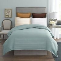 MODERN LIVING Arezzo Damask Stripe TWIN DUVET COVER Abyss Blue Green Cotton NWT