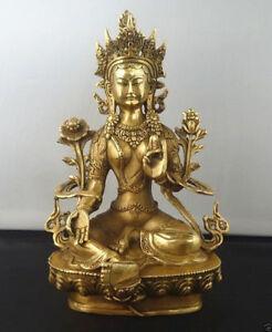 Exquisite Tibetan Buddhism Copper Green Tara God Godness Kwan-yin Buddha Statue