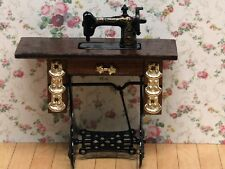 Treadle with Brasses Sewing Machine, Dolls House Miniature 1:12th Scale.
