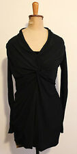 HALSTON HERITAGE ~ Black Knit Fitted Knot Front Long Sleeve Party Dress US 2 8