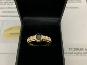 Genuine Solid 18ct Yellow GoldDiamond & Shaphire Ring