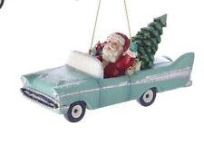 Santa in Blue Retro 1950's Convertible T-Bird Car Christmas Ornament New