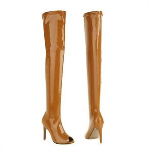 Womens Party Over The Knee Boots Thigh High Heel Open Toe Stretch Shoes 44-46 L