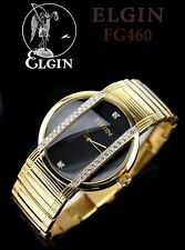 ELGIN LUXURY MEN'S TUXEDO STYLE ELEGANT CRYSTALS WATCH FG460