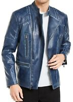 INC Mens Braxton Moto Jacket Blue Small S Faux-Leather Banded-Collar $129 213