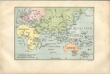 Carta geografica antica MAPPAMONDO CON ROTTE NAVI TEDESCHE 1889 Old antique map