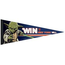 "NEW YORK METS STAR WARS YODA ROLL UP PREMIUM FELT PENNANT 12""x30"" NEW WINCRAFT"