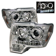 Ford 09-14 F150  DRl Chrome Dual Halo LED Projector Headlight Lamp F-150