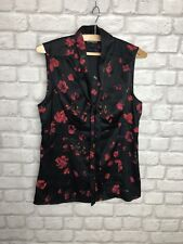 EXPRESS LADIES SLEEVELESS TOP BLOUSE BLACK AND RED FLORAL SIZE M PARTY EVENING