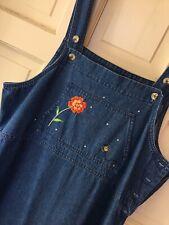 Quaker Factory 10 Jean Jumper Women's Dress Denim Embroidery Bib