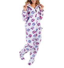 af2f0b041b5b Forever Lazy Adult One Piece Purple Owl Hood Footed Pajama Fleece Jumpsuit  XXS