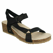 Down To Earth Ladies Black Riptape Sandals F10716 UK Sizes 3 to 8 (19A)