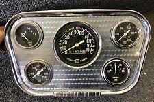 Original Stewart Warner Navigator Engine Turned Gauge Panel Perfect For Hot Rods