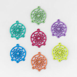 10 x Mixed Colours Network Dream Catcher Charms Pendants Findings 28mm