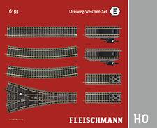 """Fleischmann H0 6193 Profi-Gleis """"Dreiweg-Weichen-Set E"""" - NEU + OVP"""
