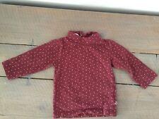 T-shirt bordeaux à étoiles rose col roulé manches longues KITCHOUN 12 mois