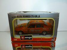 BBURAGO 0119 ALFA ROMEO 75 GR.A JAGERMEISTER - ORANGE 1:24 - EXCELLENT IN BOX