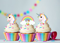 30 x Mini Unicorn & Rainbows Edible Cupcake Cake Toppers Fairy Decorations  #124
