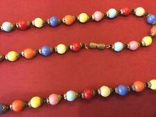 - 40� Length Antique Multi-Coloured Bead Necklace