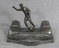 WWII GERMAN PEWTER DESK INKWELL FOOTBALL PLAYER FIGURINE DEUTSCHE KUNST FIGURE
