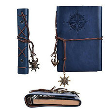 Dark Blue Classic Nautical Vintage PU Leather Notebook Kraft Diary Journal #JP
