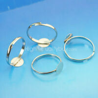 Adjustable Flat Rings Glue on Pad Bases Blanks Creative Jewelry Making 8 mm DIY