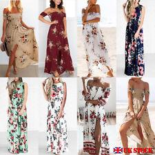 UK Women Foral Boho Maxi Long Evening Party Dress Beach Sundress Summer Dress