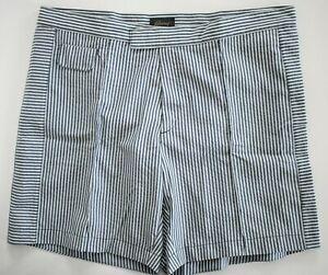 "🆕️ BRIONI Midnight Blue White SEERSUCKER SWIM Shorts Trunks Swimwear XL W-36"""