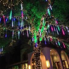 144 LED Lluvia meteoros 8 Tubos Luz de nevada Árbol Jardín Navidad 30cm Blanco