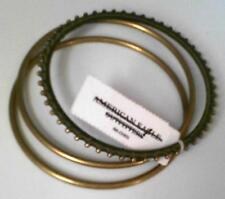 Ladies Bangle 3 Bracelet Set Gold Tone Metal and Deep Green/Black Wrapped AEO