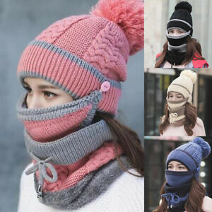 3in1 Women Bib Beanie Hat Scarf Face Cover Set Knitted Thick Winter Ski Cap
