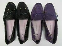 New Isaac Mizrahi Leather Driving Moccasins Flats Loafer Womens Black Purple NIB
