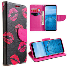 Samsung Galaxy S8+ PLUS -Diary Wallet Card Holder Case Pink Lipstick Kisses XOXO