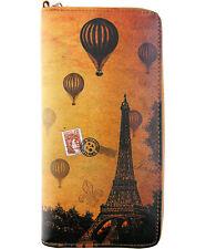 New LAVISHY Travel Wallet PARIS EIFFEL TOWER Vegan Leather WRISTLET BROWN FRANCE