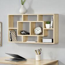en.casa® Wandregal 85x47,5x16cm Regal Bücherregal Hängeregal Eiche-Optik Büro