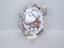 WStore Corallo Cammeo argento 925 36x28 FT cameo sardonico fiori ciondolo g.6,9