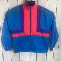 VINTAGE 90s Reebok Colorblock Full Zip Windbreaker Track Jacket Mens L Hooded
