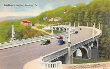 READING, PA  Pennsylvania    LINDBERGH VIADUCT    Cars    c1940's Linen Postcard