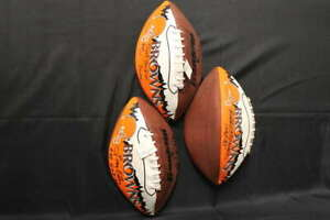 CLEVELAND BROWNS SIGNED FOOTBALL LOT (3) LAVELLI KELLY MITCHELL HOF ZA603