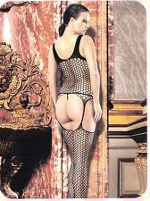 Bodystocking Catsuit Cavallo Aperto Hot Tutine Rete Intimo Sexy Body Donna Nero