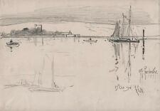 GEORGE CHARLES HAITE Victorian Pencil Drawing 1894 PORTCHESTER CASTLE & BOATS
