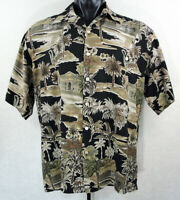 Tori Richard Hawaiian Aloha Tropical Shirt Mens Size Large Palm Tree Black Brown
