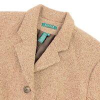 Ralph Lauren LRL Women's Wool Tweed Jacket Blazer Brown Tan • Size 16