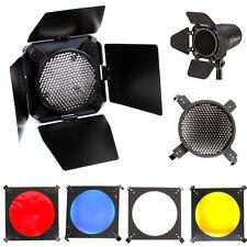 Universal Mount Studio Barn Door 10cm w/ Honeycomb Grid &4 Gel Color Filters Kit