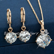 Back order 18K GOLD Filled NECKLACE Earrings SET with DIAMOND 7.90CT ESS335